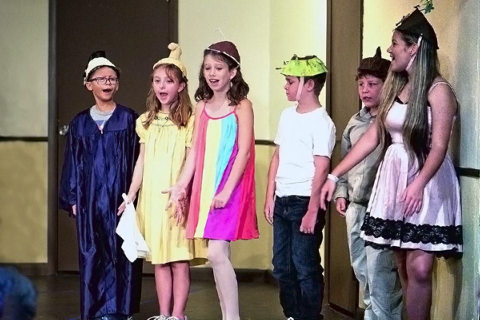 6 children rehearsing play
