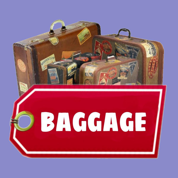 Old Suitcases with a luggage tag saying Baggage