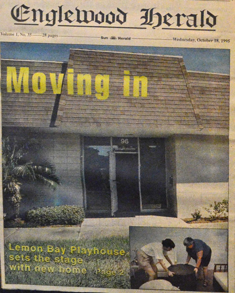 Englewood Herald Newspaper showing front of Lemon Bay Playhouse building with title Moving in