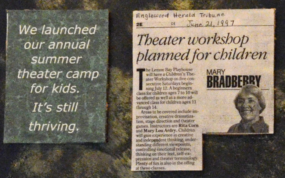 Newspaper article with the headline: Theater workshop planned for children
