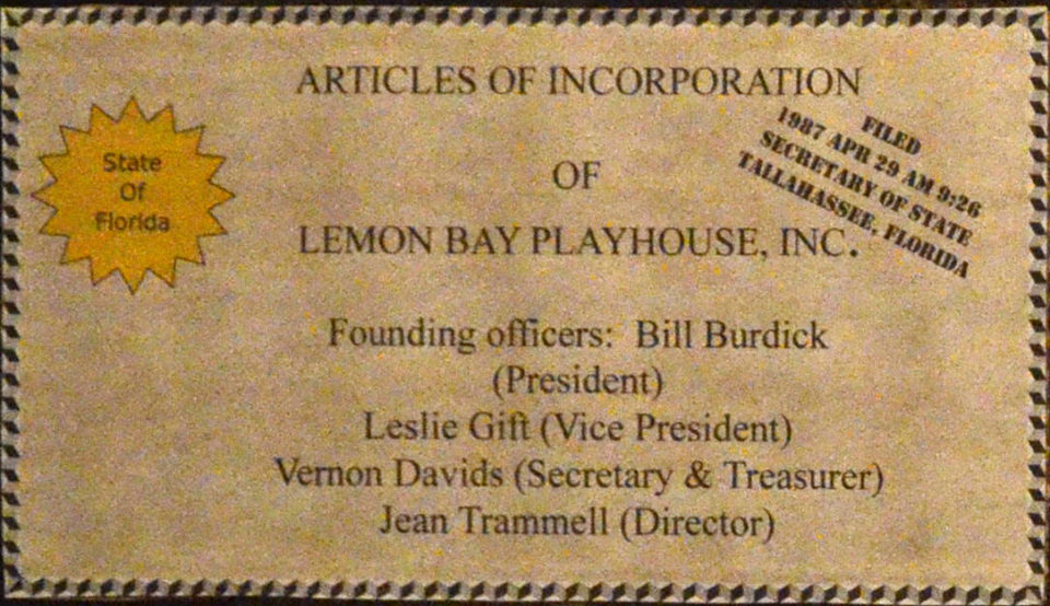 Articles of Incorporation of Lemon Bay Playhouse, Inc. certificate