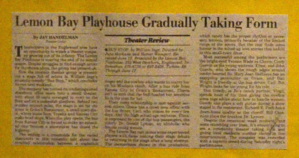Newspaper Article with headline: Lemon Bay Playhouse Gradually Taking Form