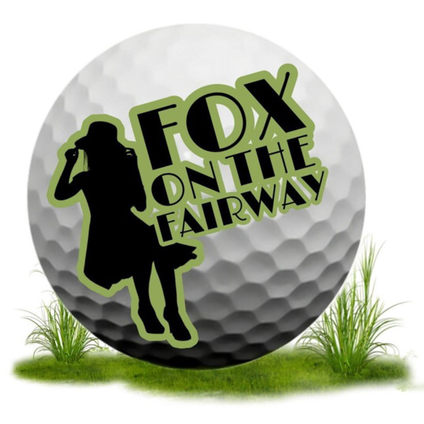 Golf Ball with woman and writing: Fox on the Fairway