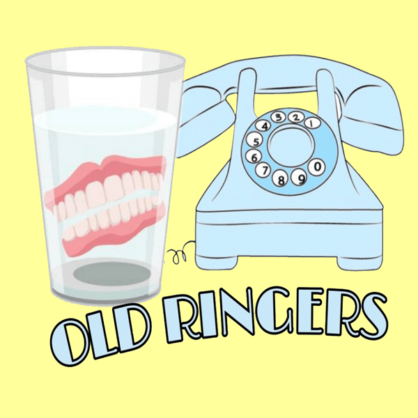 Old Telephone and set of dentures in glass of water