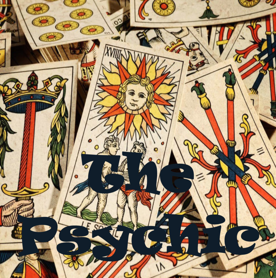 The Psychic written on Tarot Cards background