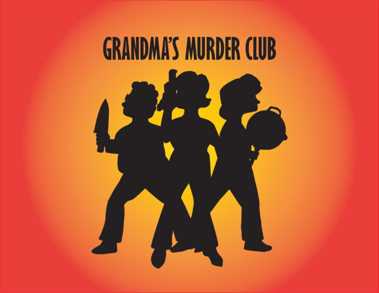 Shape of three people holding weapons with text: Grandma's Murder Club